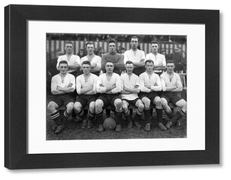 Hednesford Town team group 1931 / 32 season. Back row : L to R. Thacker,Westwood,Webster,Dalley,Allen. Front : Gooch,Handley,Evans (Captain), Baxter,Aldritt,Bell. Credit : Colorsport