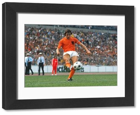 Football - 1974 World Cup - First Round, Group 3: Holand 2 Uruguay 0 (15/06/1974) Holland's Johan Cruyff during the game at Niedersachsenstadion, Hanover, West Germany