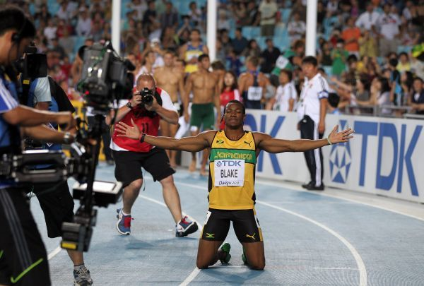 Athletics - World Championships 2011 - Daegu - Day Two Yolan Blake of Jamaica after his victory in the Men's 100m, during day two of The Athletics World Championships in Deagu, South Korea on 28th August 2011. Ian MacNicol/Colorsport