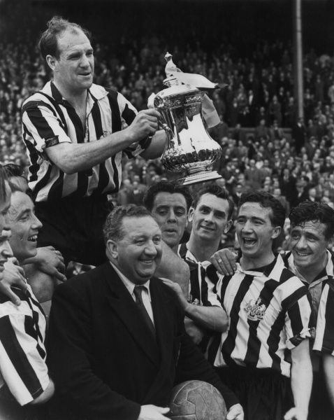 Football - 1954 / 1955 FA Cup - Final: Newcastle United 3 Manchester City 1 Newcastle captain Jimmy Scoular is chaired on the shoulders of his teammates, with manager Doug 'Duggie' Livingstone, centre, at Wembley