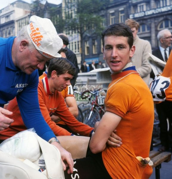 Road Cycling - 1969 Milk Race (Tour of Britain) - Stage Twelve: Scarborough (North Yorkshire) - South Shields (South Tyneside)  Holland's Fedor Den Hertog, who would win the general classification, receives a massage prior to the start of