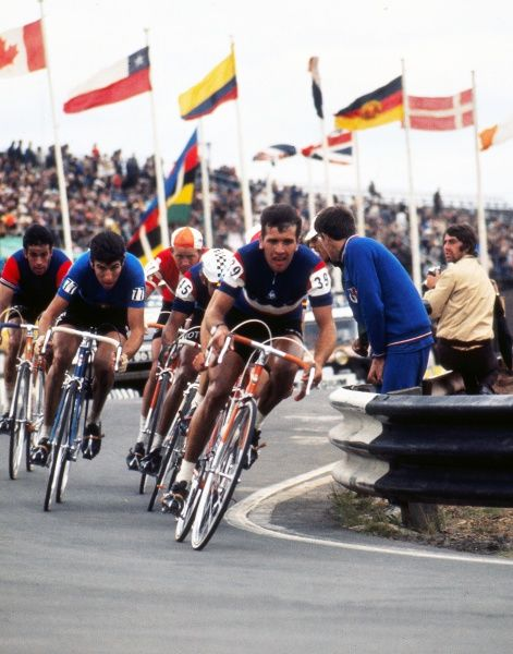 Cycling - 1970 UCI Road World Race Championships - Men's Professional Race France's Alain Vasseur (#39), who finished in sixth place, with Italy's Felice Gimondi (77), behind, who was third, at Mallory Park, Leicester. 16/08/1970