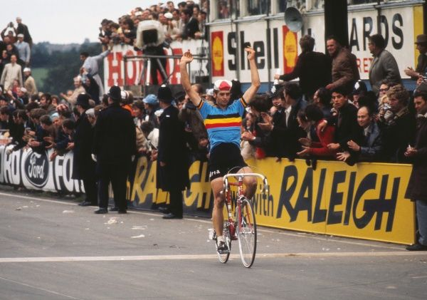 Cycling - 1970 UCI Road World Race Championships - Men's Professional Race Jean-Pierre Monsere of Belgium crosses the line to win the race and become world champion at Mallory Park, Leicester