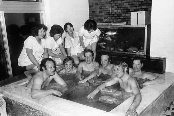 1972 Sapporo Winter Olympics The Great Britain men's luge team relax in a bathouse in Sapporo, Japan. Pictured are Jonnie Woodall, Jeremy Palmer-Tomkinson (front left), Richard Liversedge, Rupert Deen, Stephen Marsh, and Michel de Carvalho
