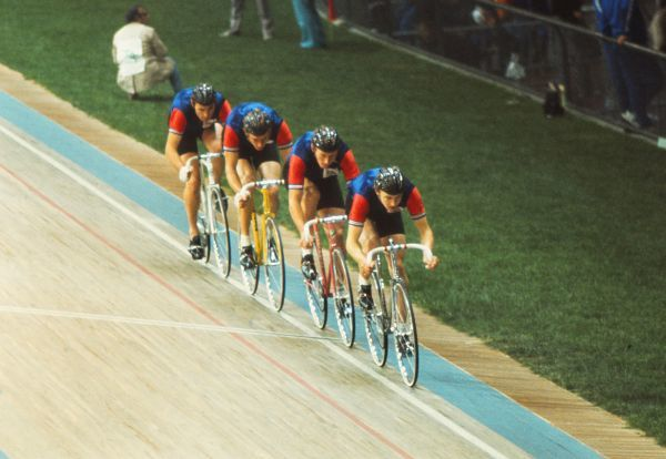 Cycling - 1972 Munich Olympics - Men's Team Pursuit, 4000m Final Round The Great Britain team in the Cycling Stadium, Olympic Park, Munich, West Germany. Leading is Michael Bennett, followed by William Moore (2nd), Ian Hallam (3rd), and Ronald Keeble