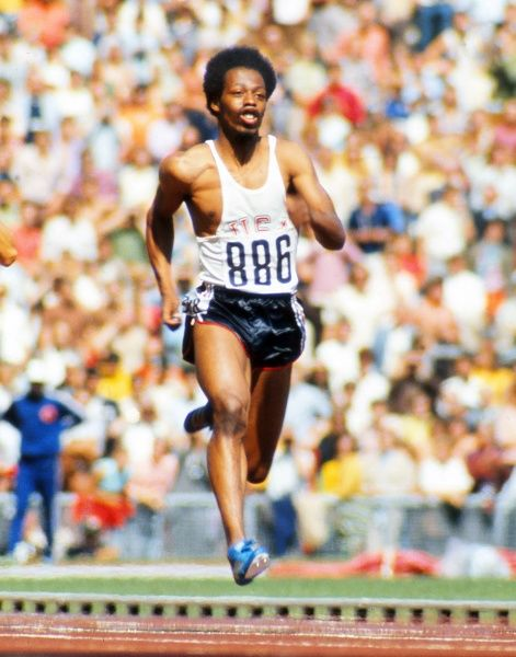 Athletics - 1972 Munich Olympics - Men's 100m Round One Heat Eleven The USA's Eddie Hart (with his number upside down) on the way to winning his heat in the Olympiastadion, Munich, West Germany