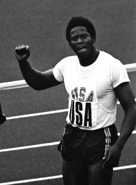 Athletics - 1972 Munich Olympics - Men's 4x100m Relay Final Gerald Tinker, who rain the third leg for the USA's gold medal-winning team, celebrates at the end of the race in the Olympiastadion, Munich, West Germany