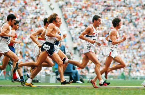 Athletics - 1972 Munich Olympics - Men's 5000m Final From right to left in the Olympiastadion, Munich, West Germany: Great Britain's Ian McCafferty (#300) and Ian Stewart (#309), the USA's Steve Prefontaine (#1005)