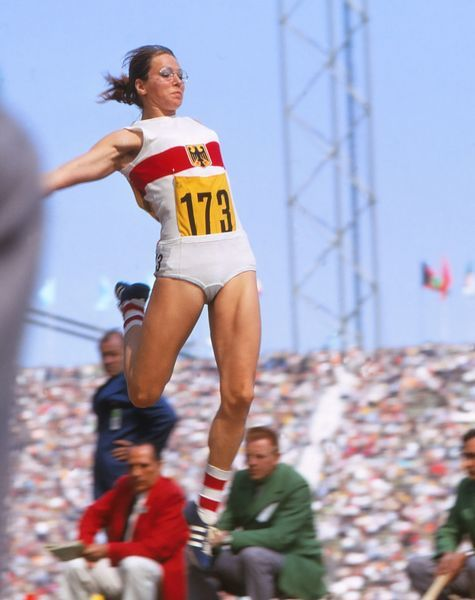 Athletics - 1972 Munich Olympics - Women's Pentathlon Day Two West Germany's Heide Rosendahl during the long jump event in the Olympiastadion, Munich, West Germany. At the 1972 Games Rosendahl won the silver in the pentathlon and gold medals in the long jump