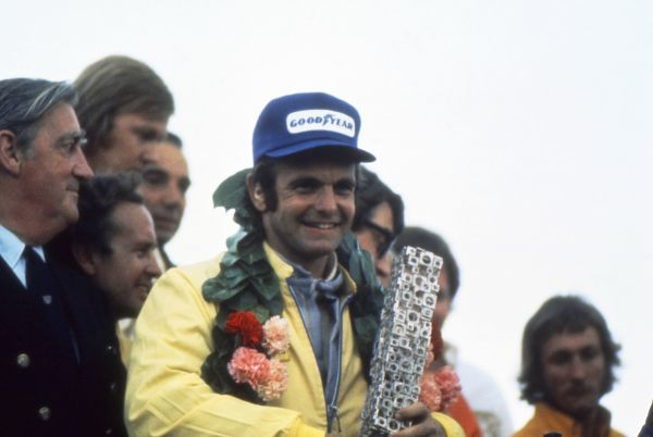Motorsport - 1973 F1 Formula One World Championship - British Grand Prix The winner of the race at Silverstone, McLaren-Ford's Peter Revson of the USA
