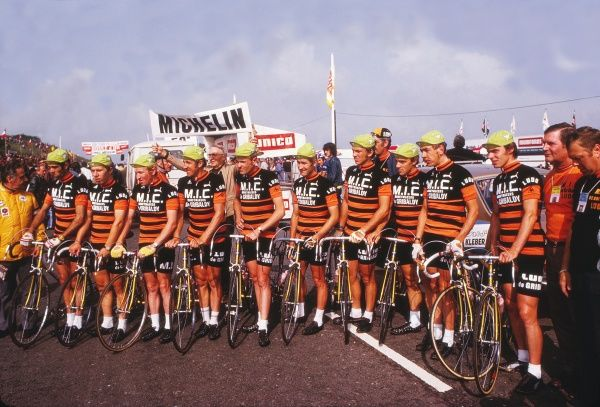Road Cycling - 1974 Tour de France - Stage Two: Plymouth-Plymouth The Belgium Mic-De Gribaldy-Ludo team before the start of the stage on the Plympton bypass. The riders, in no particular order, are Herman Van Springel, Dirk Baert, Eric Leman