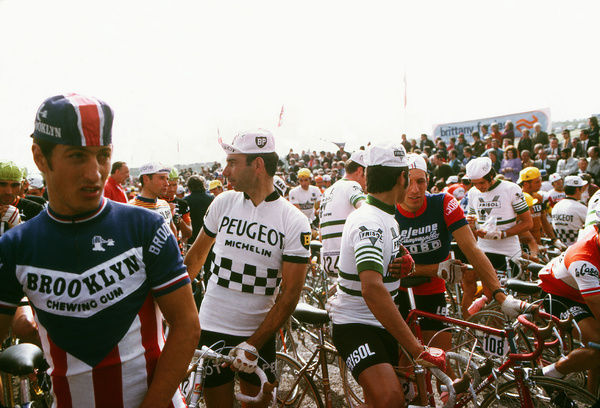 Road Cycling - 1974 Tour de France - Stage Two: Plymouth-Plymouth The riders chat on the start line before the stage on the Plympton bypass