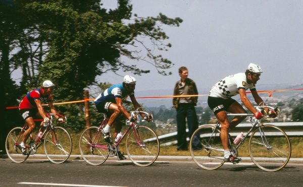 Road Cycling - 1974 Tour de France - Stage Two: Plymouth-Plymouth France's Bernard Thevenet, far right, of the Peugeot-BP-Michelin team. Thevenet would win the Tour in 1975 and 1976. It was the first time the Tour had been staged on British soil