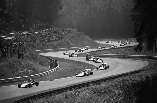 Motorsport - Formula One F1 World Championships - 1975 German Grand Prix General View of F1 cars racing on the Nurburgring