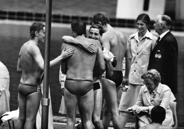 Swimming - 1976 Montreal Olympics - Men's 4 x 200m Freestyle Relay Final     The Great Britain team celebrate winning the bonze medal, in the Olympic Pool, Quebec, Canada
