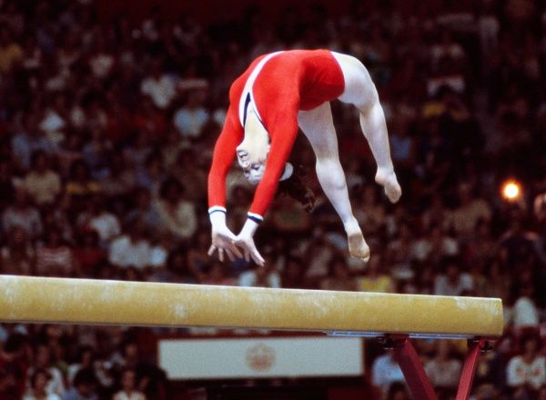 Gymnastics - 1976 Montreal Olympics - Women's Balance Beam Great Britain's Barbara Slater on the way to finishing in 63rd place in the Montreal Forum, Quebec, Canada