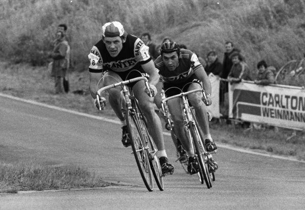 Road Cycling - 1977 Glenryck Cup Professional Criterium - Eastway Cycle Circuit Great Britain's Sid Barras, with Belgium's Eddy Merckx, behind, at Lee Valley Park, East London (later site of the Olympic VeloPark)