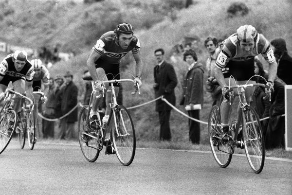 Road Cycling - 1977 Glenryck Cup Professional Criterium - Eastway Cycle Circuit Left to right: Great Britain's Sid Barras, Belgium's Eddy Merckx, and Great Britain's Keith Lambert, at Lee Valley Park, East London (later site of the