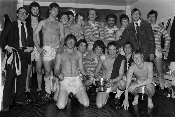 Rugby Union - 1978 Varsity Match - Cambridge University 25 Oxford University 7 The Cambridge team celebrate their victory in the Twickenham changing rooms with the Bowring Bowl trophy