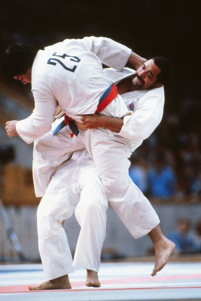 Judo - 1980 Moscow Olympics Men's Open Class Round 3 Pool A - Arthur Mapp vs. Dimitar Zaprianov Great Britain's Arthur Mapp (right) on the way to defeating Bulgaria's Dimitar Zaprianov by Waza-ari in the Palace of Sports of the Central Lenin Stadium
