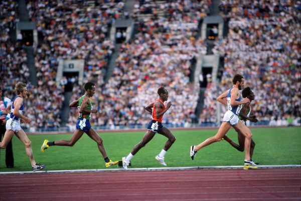 Athletics - 1980 Moscow Olympics - Men's 10,000m Final  The leading pack in the Grand Arena, Central Lenin Stadium Area, Moscow, USSR. From left to right: Finland's Kaarlo Maaninka, Ethiopia's Tolossa Kotu and Miruts Yifter, Finland's Lasse Viren