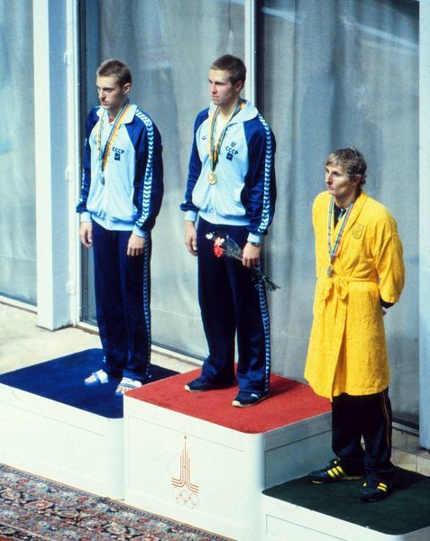 Swimming - 1980 Moscow Olympics - Men's 1500 metres Freestyle Medal Presentation Left to right: the USSR's silver medalist Aleksandr Chayev, the USSR's gold medalist Vladimir Salnikov, who finished under 15 minutes to break the world record
