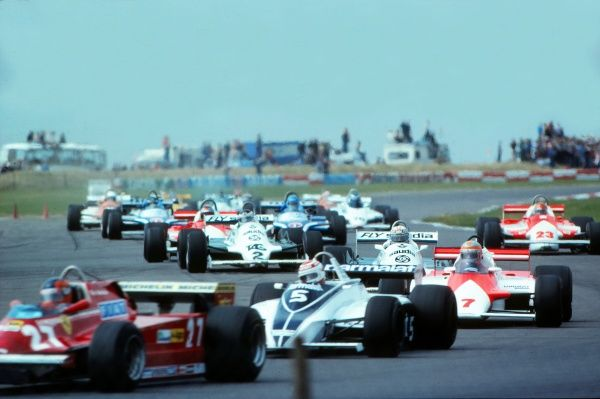 Motor Racing/Formula 1 The cars wind their way around the Silverstone circuit.  1981 British Grand Prix Silverstone No.7 on the right is GB's John Watson (McLaren) who went on to win the race. No.5 is Brazil's Nelson Piquet (Brabham), while no