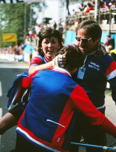 Cycling - 1982 UCI Road World Championships - Women's Road Race Great Britain's Amanda 'Mandy' Jones is helped from her bike after winning the race at Goodwood. Jones was the first British woman to win a world championship for fifteen years