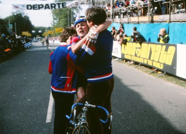 Cycling - 1982 UCI Road World Championships - Women's Road Race Great Britain's Amanda 'Mandy' Jones is helped from her bike after winning the race at Goodwood