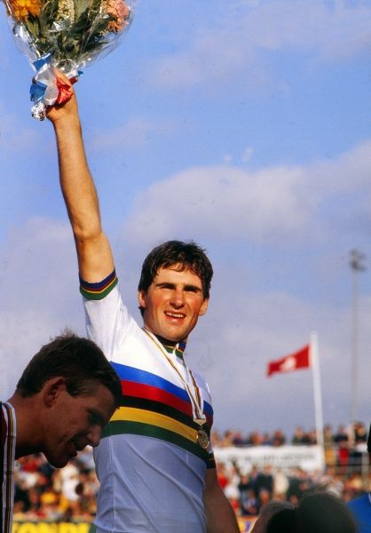 Track Cycling - 1982 UCI Track World Championship - Men's Professional 5000m Individual Pursuit France's Alain Bondue celebrates defending his world title in the rainbow jersey at Leicester