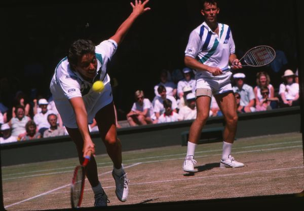 Tennis - 1987 Wimbledon Championships - Mixed Doubles Jo Durie competing with Jeremy Bates