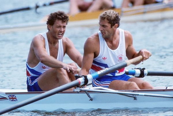 Rowing - 1988 Seoul Olympics - Men's Coxless Pairs Final Great Britain's gold medal winners Steve Redgrave (left) and Andy Holmes celebrate after their victory at the Misari Regatta Course, Hanam, South Korea