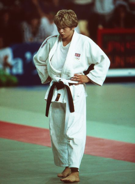 Judo - 1992 Barcelona Olympics - Women's Lightweight Pool B Final Great Britain's Nicola Fairbrother during her victory over Belgium's Nicole Flagothier in the Blue and Red Palace, Granollers, Spain. Fairbrother went on to win the silver medal