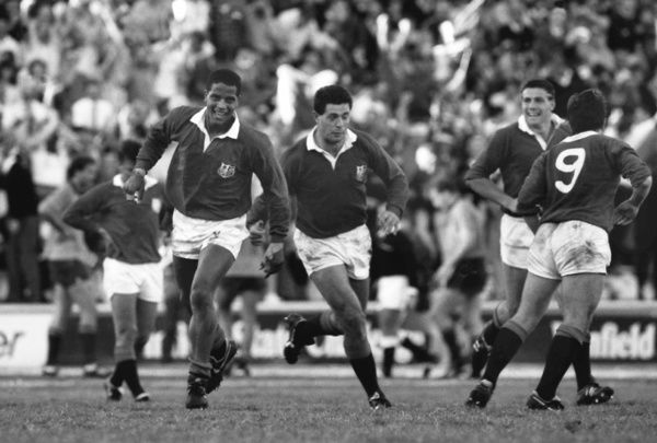 Rugby Union - 1989 Lions Tour of Australia - Second Test: Australia 12 British Lions 19     Jeremy Guscott celebrates scoring the match-winning try for the Lions, at Ballymore, Brisbane. Gavin Hastings, centre.     08/07/1989