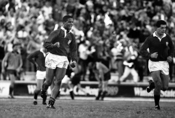 Rugby Union - 1989 Lions Tour of Australia - Second Test: Australia 12 British Lions 19     Jeremy Guscott celebrates scoring the match-winning try for the Lions, at Ballymore, Brisbane. Gavin Hastings, right.     08/07/1989