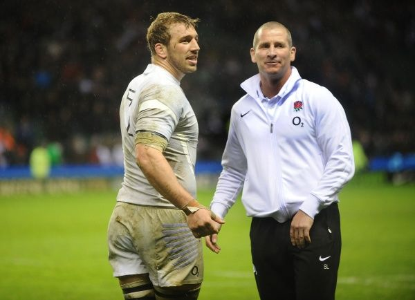 Rugby Union - 2012 Six Nations Championship - England vs. Ireland Chris Robshaw - England captain celebrates with England coach Stuart Lancaster at the final whistle