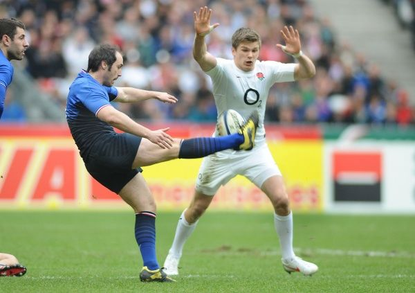 Rugby Union - Six Nations Championship - France vs. England Julien Dupuy - France is charged down by Owen Farrell - England