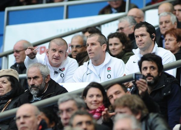 Rugby Union - Six Nations Championship - France vs. England England coaching staff : Graham Rowntree, Stuart Lancaster and Andy Farrell watch from the stands