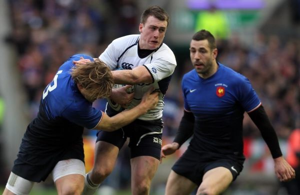 Rugby Union - Six Nations Championships - Scotland vs. France   EDINBURGH, SCOTLAND - FEB 26: Aurelien Rougerie of France tackles Stuart Hogg of Scotland during the Scotland vs France RBS Six Nations Championship at Murrayfield Stadium on Feb 26th