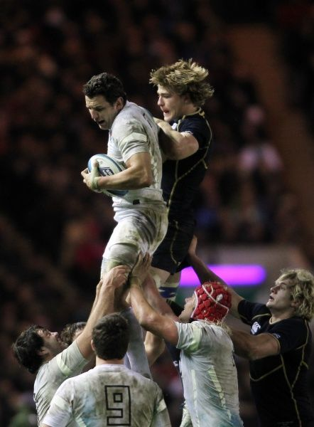 Rugby Union - Six Nations Championships - Scotland vs. England   EDINBURGH, SCOTLAND - FEB 04: Phil Dowson of England out jumps Dave Denton during the Scotland vs England RBS Six Nations Championship at Murrayfield Stadium on Feb 4th, 2012 in Edinburgh
