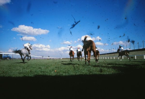 National Hunt Horse Racing - Aintree Grand National meeting 1978  General view of horses after clearing a fence at Aintree