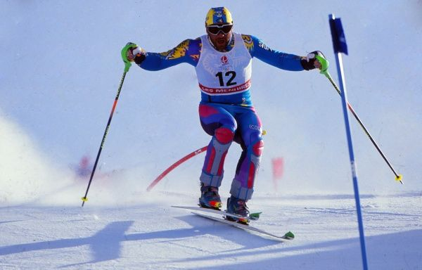 Alpine Skiing - 1992 Albertville Winter Olympics - Men's Slalom Italy's Alberto Tomba on the way to winning the silver medal at Slalom Stadium, Les Menuires, France