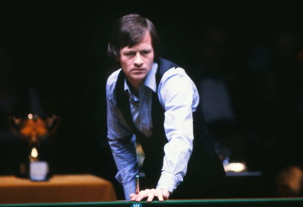 Alex Higgins (N. Ireland) vs Terry Griffiths (Wales) Benson and Hedges Masters Final, 1981 Wembley Conference Centre   Higgins won the match 9-6 Credit: Colorsport