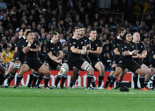 New Zealand v Australia ; Auckland; RWC Semi Final Eden Park Stadium.Richie McCaw - NZ leads the 'HAKA' Credit : Colorsport / Andrew Cowie