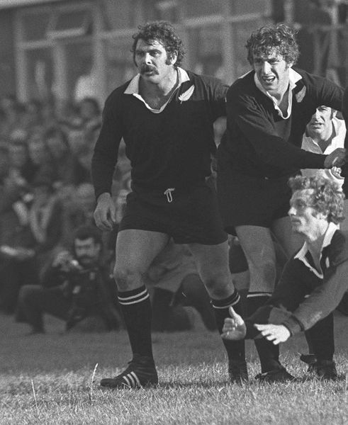 Rugby Union - 1972/3 New Zealand Tour of Great Britain & France - Western Counties 12 New Zealand 39 Left to right, All Blacks Keith Murdoch, Peter Whiting, and George 'Lyn' Colling diving in front, at Kingsholm, Gloucester