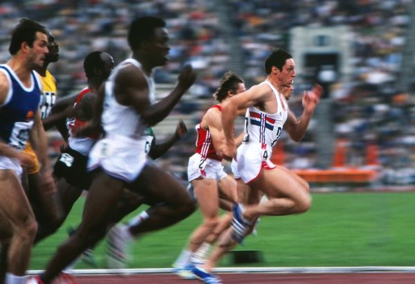Athletics - 1980 Moscow Olympics - Men's 100m Semi-Finals Heat Two Great Britain's Allan Wells on the way to winning the race in the Grand Arena of the Central Lenin Stadium, Moscow, USSR. Wells went on to win the gold medal in the final