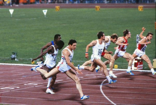 Athletics - 1980 Moscow Olympics - Men's 100 metres Final Great Britain's Allan Wells (nearest camera) wins the gold medal in the Grand Arena of the Central Lenin Stadium, Moscow, USSR. He tied with Cuba's Silvio Leonard (lane 1 out of shot) in a time of 10