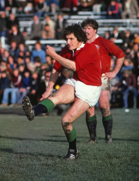 Rugby Union - 1977 British Lions Tour of New Zealand - Canterbury 13 British Lions 14 Andy Irvine kicks for the Lions at Lancaster Park, Christchurch
