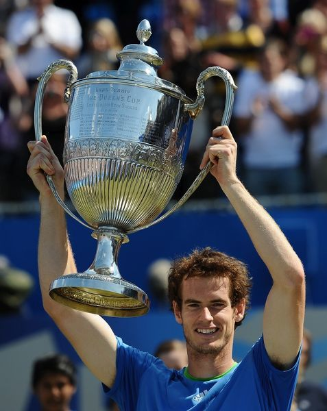 Tennis - 2011 Aegon Championships Final - Day 8 - Andy Murray (GBR) vs. Jo-Wilfried Tsonga (FRA) Andy Murray poses with the AEGON Championship trophy, the Queens Cup following his win at Queens Club, London