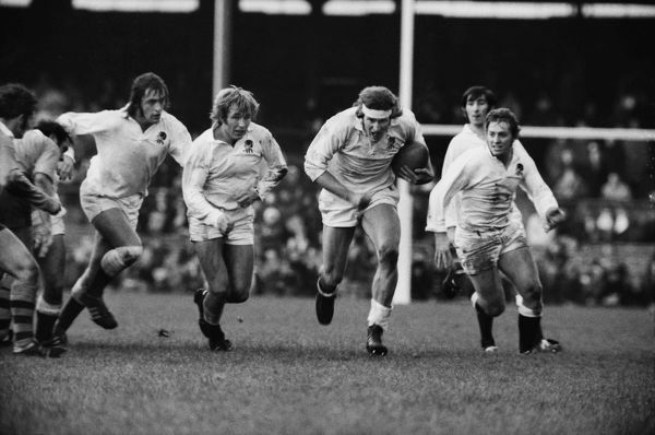 Rugby Union - 1973 Australia Tour of England and Wales - England 3 Australia 20 England's Andy Ripley on the charge with Chris Ralston, John Watkins and Steve Smith in support at Twickenham